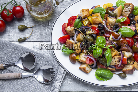 close up of panzanella italian bread