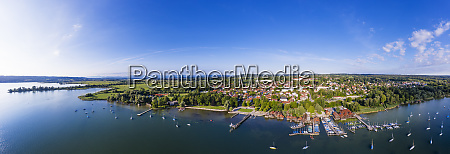 panoramic view of harbor at ammersee
