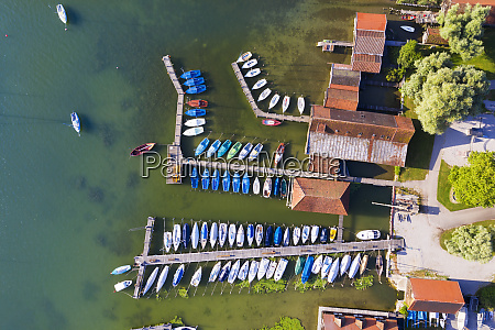 aerial view of harbor at ammersee
