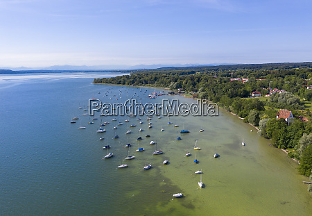 aerial view of sailboats in lake