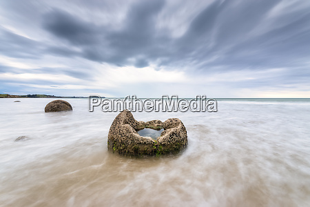 moeraki boulder in sea at koekohe