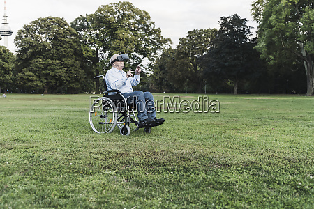 senior man sitting in wheelchairin a