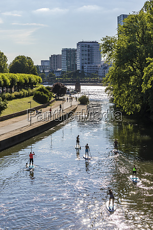 high angle view of people paddleboarding