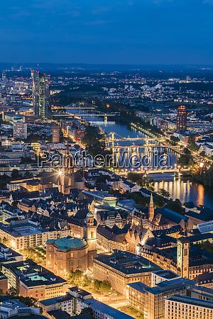 high angle view of illuminated cityscape