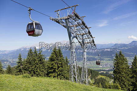 overhead cable cars at harschbichlbahn against