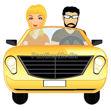 man and woman in car cabriolet