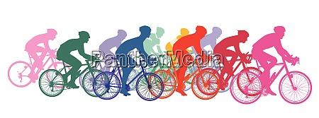 group of cyclists on racing bikes