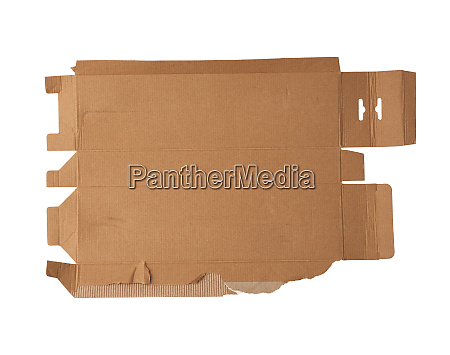 torn and unfolded cardboard box isolated