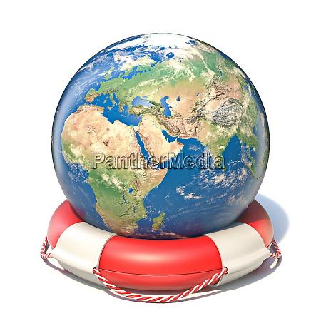 earth globe in lifebuoy 3d