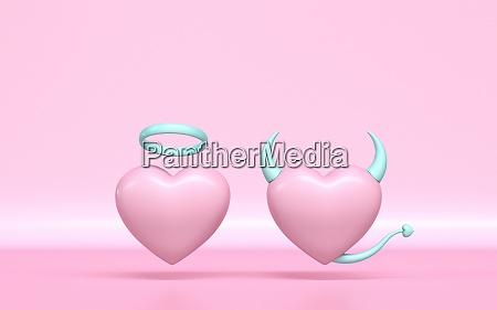 angel and devil heart 3d