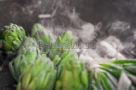artichokes on grill