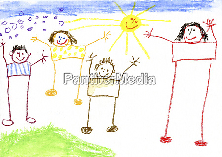 childrenZs drawing happy family