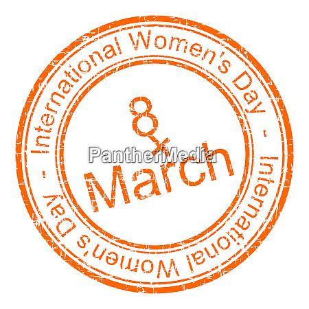 orange international womens day rubber stamp