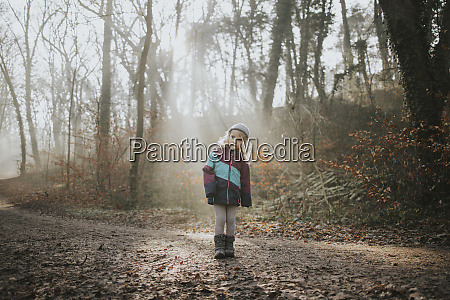 girl during forest walk