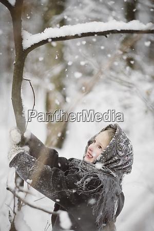 portrait of smiling little girl shaking