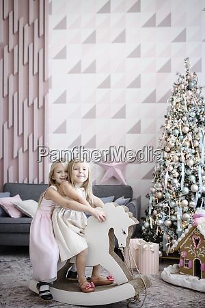 portrait of happy two little girls