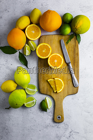 cutting board kitchen knife and various