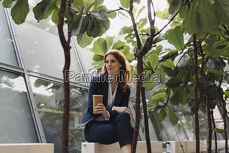 businesswoman having a break in a