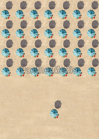 aerial view of rows of turquoise