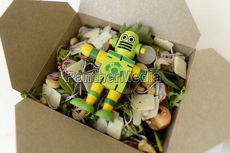 lunch box with mixed salad and