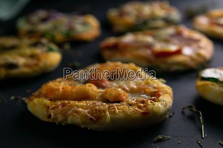 small mini pizza set of different