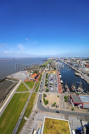 germany bremerhaven hafencity aerial view of