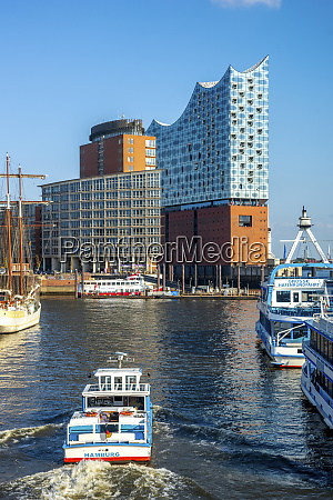 germany hamburg ferry sailing toward elbphilharmonie