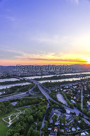 austria vienna cityscape seen form danube