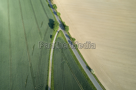 germany thuringia aerial view ofcountry road