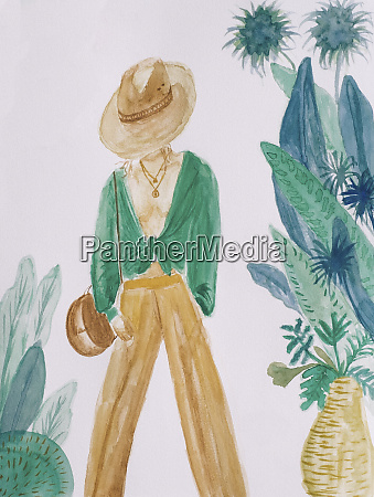 watercolor painting of fashionable woman by