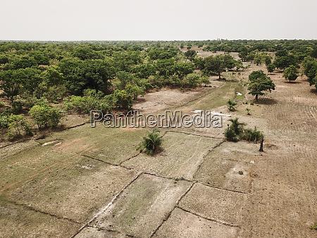 mali bougouni aerial view of fields