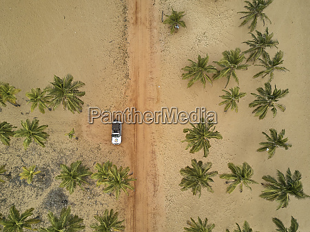 benin aerial view of 4x4 car