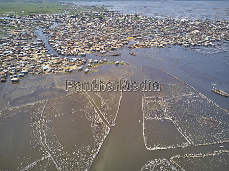 benin ganvie aerial view of fishing