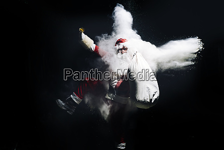 santa claus with exploding snow bomb
