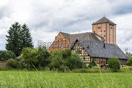 old brick and half timbered building