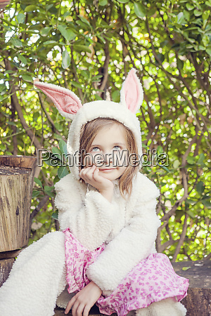 portrait of little girl wearing easter
