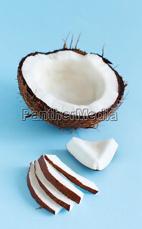 coconut pieces on a light blue