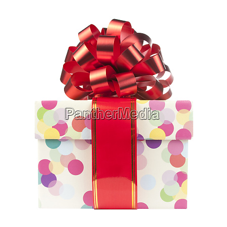 gift with big red bow and