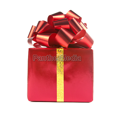 red gift with bow and ribbon