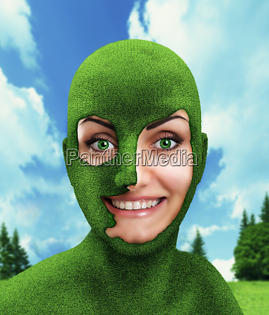 green womans head on nature