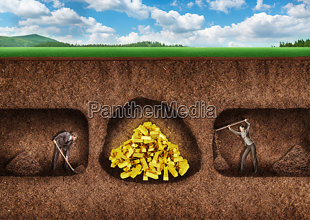 business people dig a tunnel to