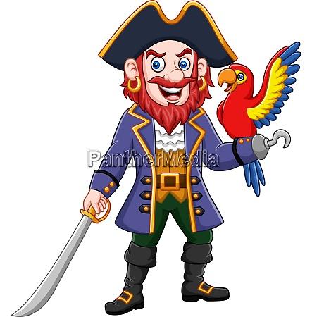 cartoon pirate captain and macaw bird