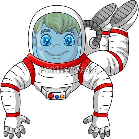 cartoon astronaut flying isolated on white