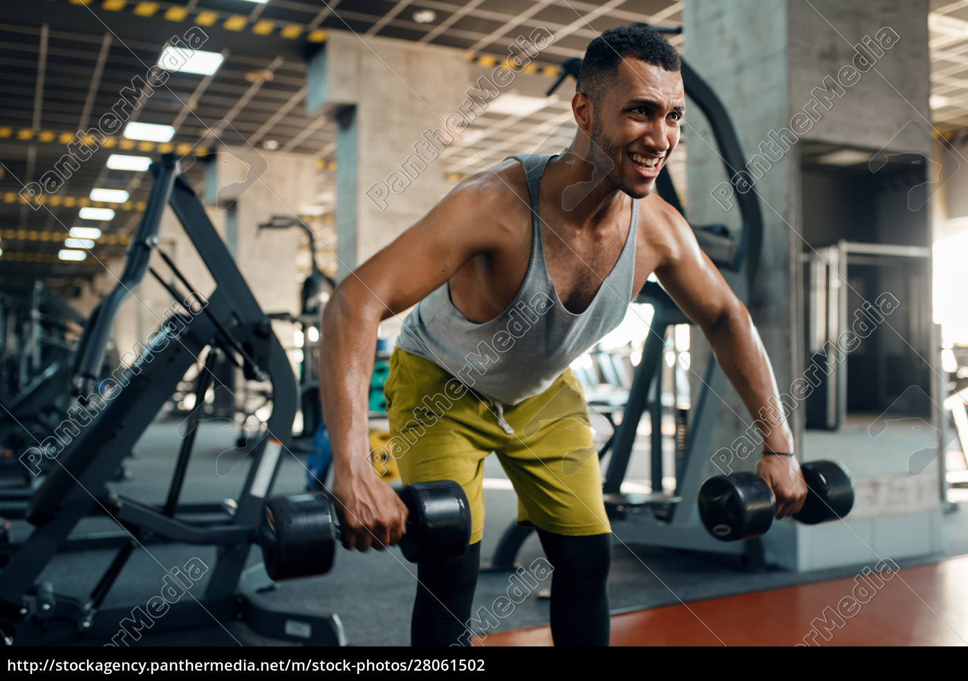 athlete, doing, exercise, with, dumbbells, in - 28061502