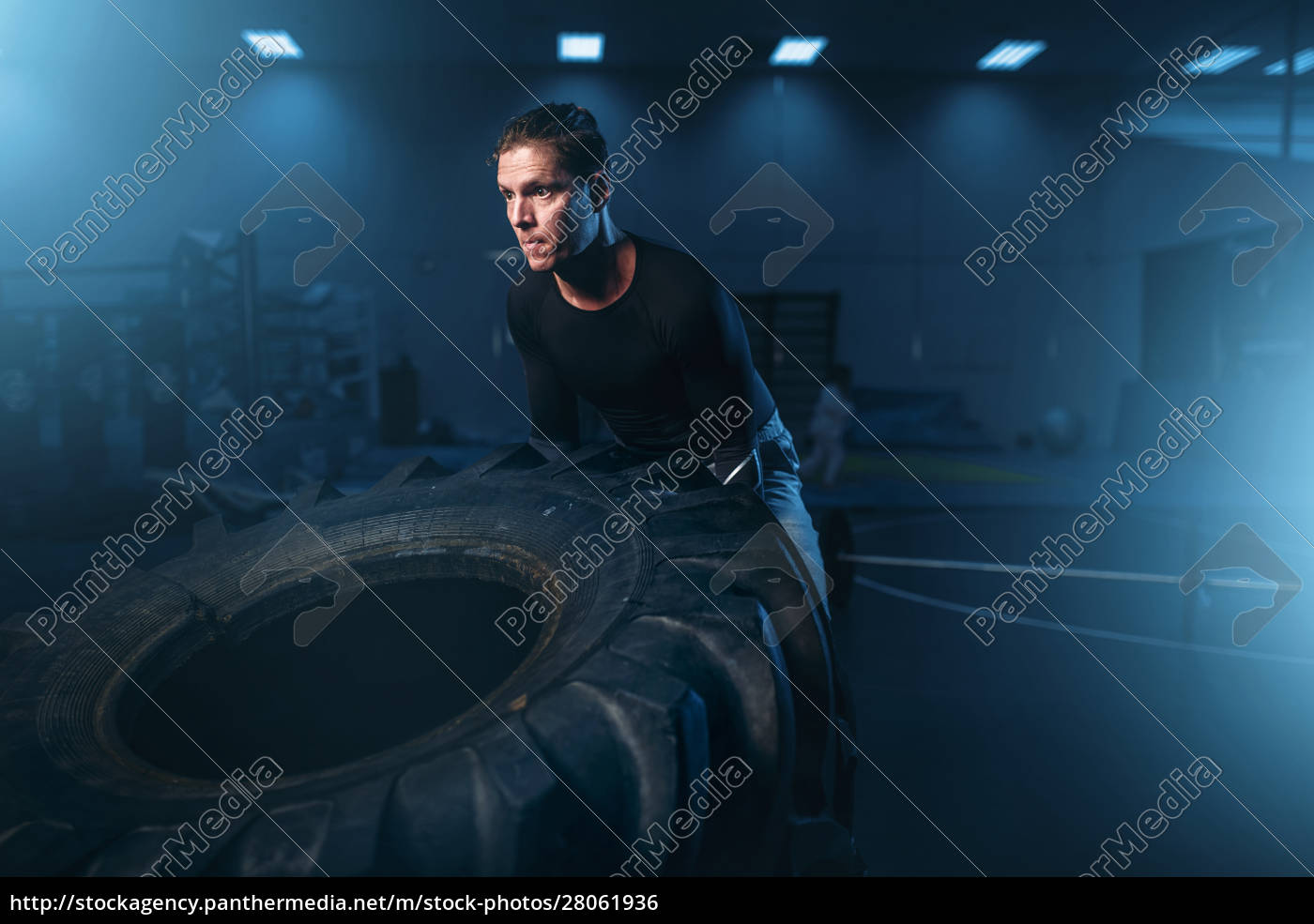 athlete, on, training, , workout, with, heavy - 28061936
