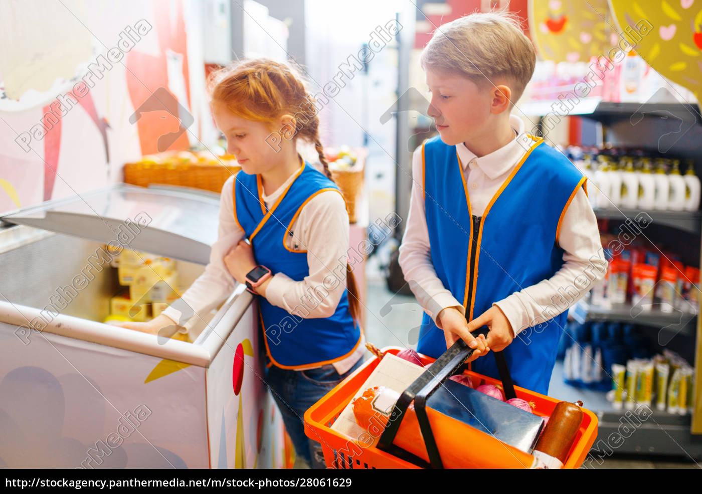 boy, and, girl, in, uniform, playing - 28061629