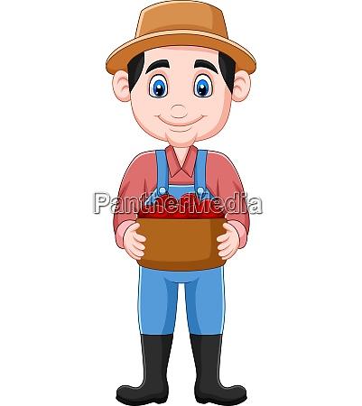 cartoon, farmer, holding, a, basket, of - 28061478