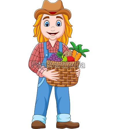 cartoon, girl, farmer, holding, a, basket - 28061479