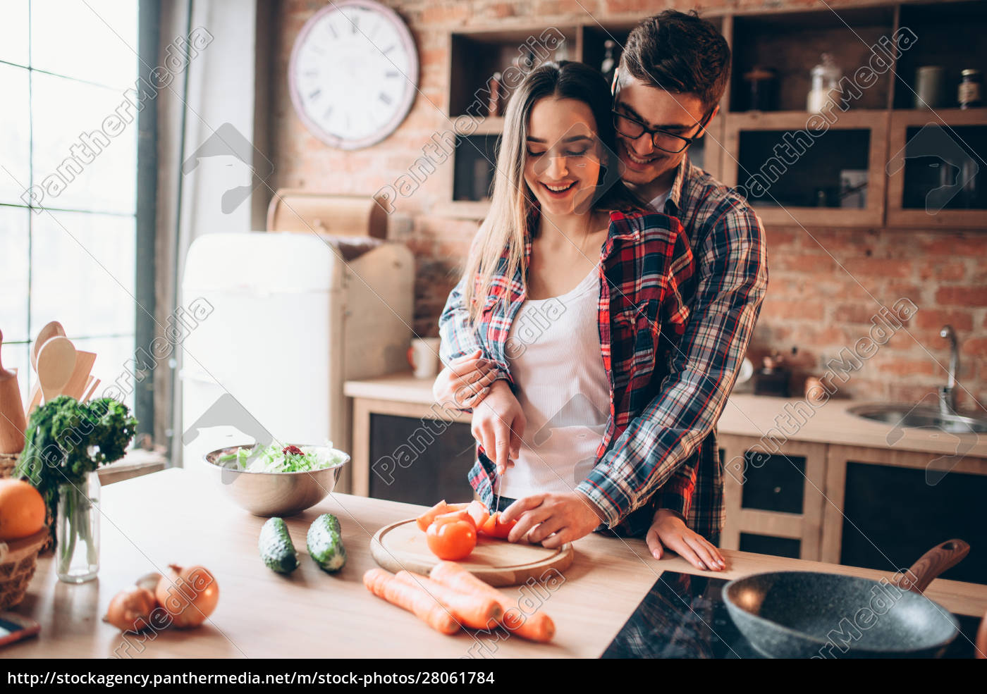 couple, hugs, while, cooking, fresh, vegetable - 28061784