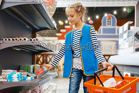 cute, girl, with, basket, playing, saleswoman, - 28061675